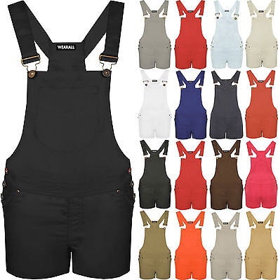 Ladies Women Dungaree Playsuit New Pocket Buckle Strap Shorts Jumpsuit Top 8to14