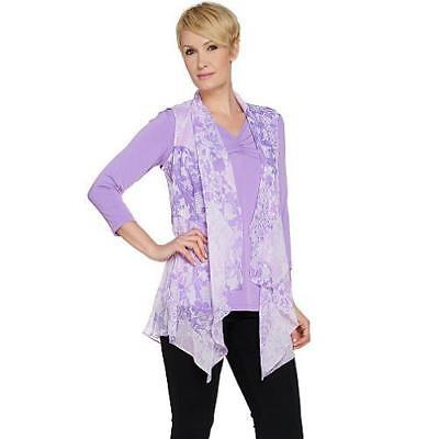 Susan Graver Size 2X Printed Crinkle Chiffon Vest in Lilac -100% Polyester