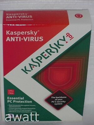 BRAND NEW Kaspersky Anti-Virus 2013 Essential PC Protections Windows 3 Users NIB