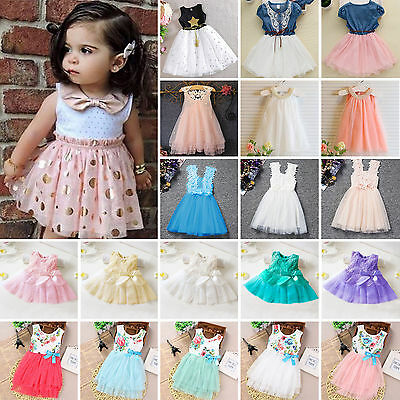Girls Princess Flower Tulle Tutu Dress Toddler Kids Baby Pageant Wedding Party