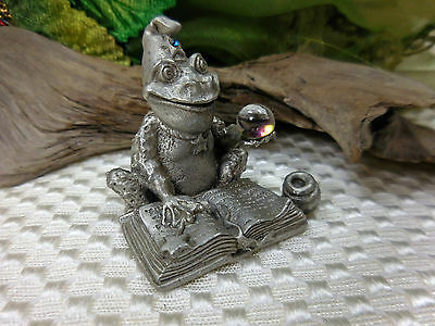 Gallo 1988 Oops The Frog Wizard With Magic Book & Crystal Ball Pewter Figure