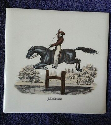 "Vintage MOSAIC Tile ""Leaping"" Horse and Rider Jumping Scene Equestrian 6"""