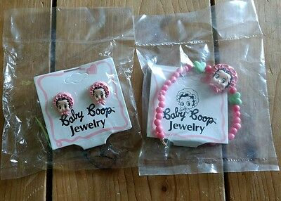 Baby Boop Jewelry Lot Earrings and Bracelet New 1990 Betty King Features Pink