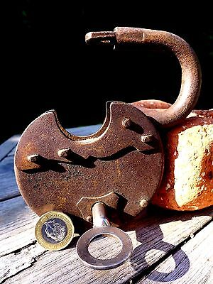 Antique Vintage Padlock with one key, working order, hobby, double lock, 25-12