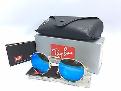 Ray Ban Round Metal RB3447 Gold Flash Blue Mirror Lens 50/21