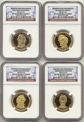 2010 S Presidential Dollar 4 Coin Proof Set NGC PF69 Ultra Cameo UC PR69 $1