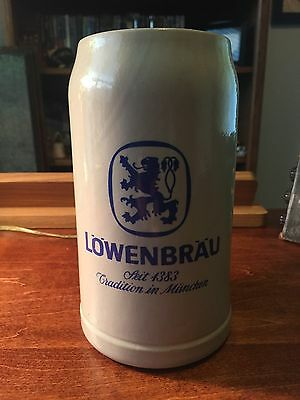 New Lowenbrau 1L Ceramic/Stoneware German Beer Mug - FREE SHIPPING
