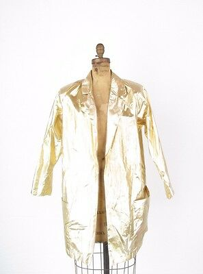 VTG 1980s Disco Gold Lame Wide Shoulder Club Party Oversized Blazer Jacket