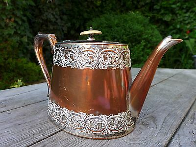 Antique decorative silver copper plated tea pot made by Arthur E.Furniss 1885-90