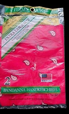 Lot Two Vintage New Red Bandanas - Nip Color Fast Extra Large