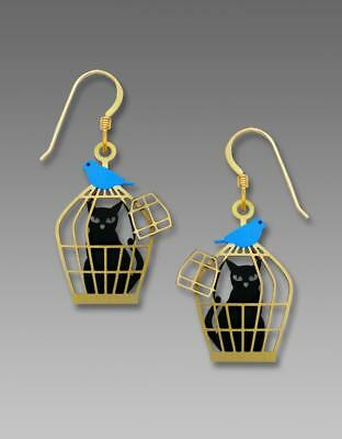 Sienna Sky Earrings 14K Gold Filled Hook Hand Painted Cat in Cage with Bluebird