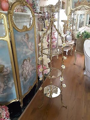 Antique Italian Tole Etagere Yellow Porcelain Roses Glass Mirrored Shelf Display