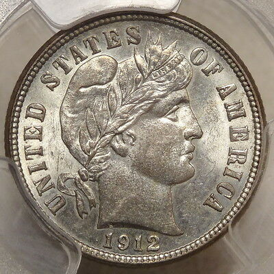 1912-S Barber Dime, Choice Uncirculated PCGS MS-63, Better Date - Nice Color