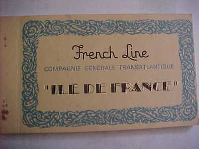 French Line - Set of ten post cards SS ILE DE FRANCE - 1927 and 1949