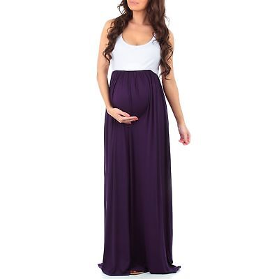 Women's Sleeveless Ruched Color Block Maxi Maternity Dress by Mother Bee - Ma...