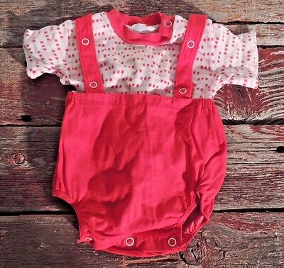 Vintage Carter's Baby Boy Outfit 1960's Shirt and Bib Shorts Red White 6 months