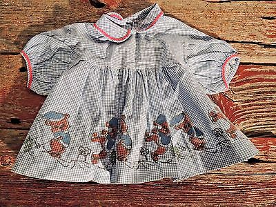 Vintage Baby Girls 1960's 9 month Blue Gingham Check Dress/Top