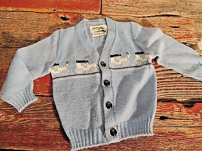 Vintage Baby Boys 1960's Size 2 Blue Knit Sweater Sterntex 100% Virgin Acrylic