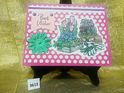 Handmade best wishes greeting card gardeners gloves and flowers 3-D 3613