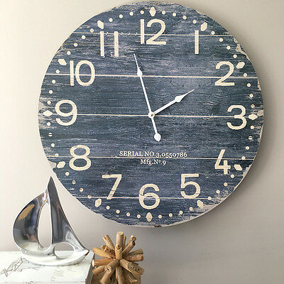 Large 58cm Coastal Blue Wall Clock/French Provincial/Hampton's/Dark Blue
