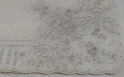 "VINTAGE WHITE FINE LINEN Wedding HANKIE 12"" drawn work and embroiderd flowers"