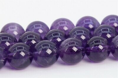 8MM Genuine Natural Amethyst Beads Grade AA Round Gemstone Loose Beads 15.5""