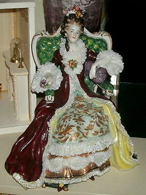 Antique German Volkstedt Seated French Queen Lady Throne Porcelain Lace Figurine