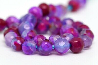 """4MM Natural Purple Striped Agate Beads Grade A Faceted Round Loose Beads 7.5"""""""