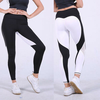 Women High Waist Yoga Fitness Heart Leggings Running Gym Sports Pants Trousers