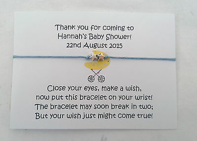 Baby Shower Wish Bracelet Thank You Party Favour - Personalised, Great Quality!