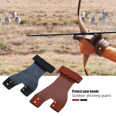 Archery Hand Protector Leather Longbow 2 Finger Glove Hunting Guard Protector