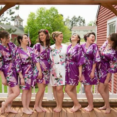 NEW Bridesmaid set of 6 gowns and bride wedding party robes satin Dress Hot 2017