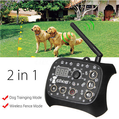2 in 1 Wireless Dog Training Shock Fence No-Wire Pet Trainer Dog Transmitter
