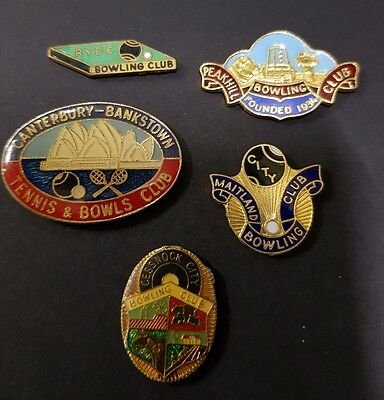5× Collectable Bowls Club Badges **BACKS REMOVED**