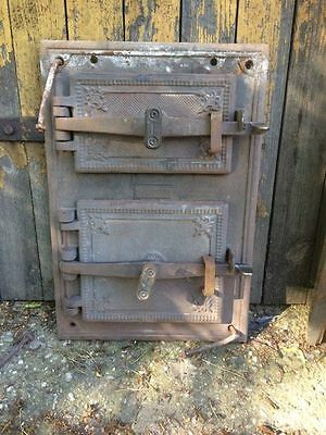 Large Vintage Cast iron fire door clay / bread oven / pizza stove / smoker- (a)