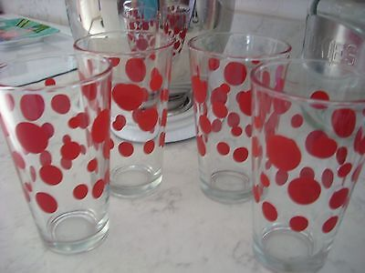 Set of 4 Libbey RED Polka Dot Drinking Glasses Tumblers 5 1/2""