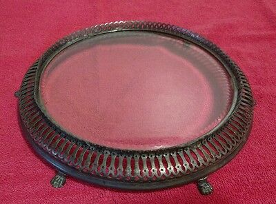 "Antique Ornate Footed Display Plateau 10"" Beveled, Etched Vanity Perfume Dresser"