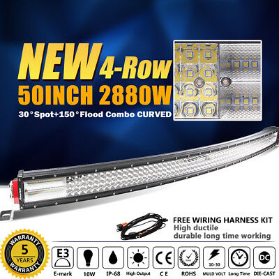 OSRAM Curved 50INCH 2880W LED Light Bar Quad Row Work Combo Offroad 4WD 52 VS 42
