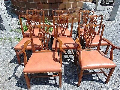 Set Of 8 Chippendale Style Chairs by Sacks with Leather Uph and Brass Tack Trim