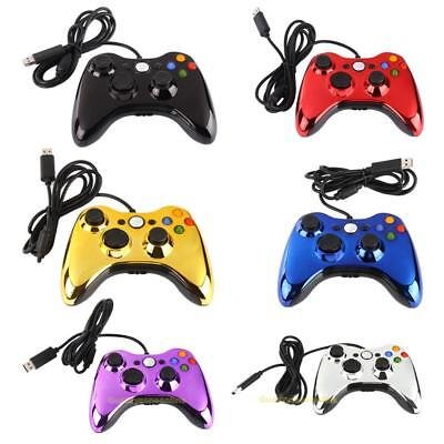 For Microsoft Xbox 360 Electroplating Wired USB Game Controller Gamepad PC Black