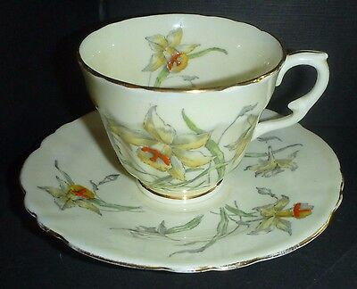 Antique Daffodil Crown Staffordshire Cup and Saucer, Ex. Cup, Poor saucer F13759