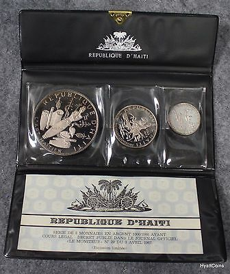 1969 Republique D'Haiti 3 Silver Coins Proof Set 5 10 25 Gourdes w/ COA