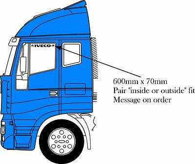 Iveco side window stickers top pair decals inside or outside fitting vinyl
