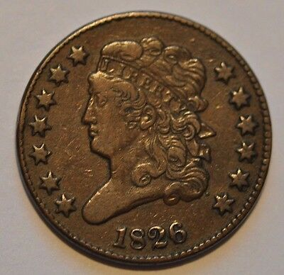 1826 1/2 Cent C-2  Classic Head Manley Die State 1.0  R3+ Tougher Variety