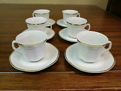 Mitterteich Bavaria  China  Demitasse 6 Cups And 6 Saucers White W/ Gold Trimmed