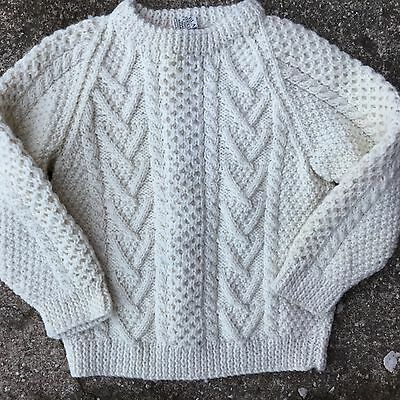 Vtg Cable Knit Wool Sweater Blarney Aran Cream Fisherman Ireland Girl Boys Kids