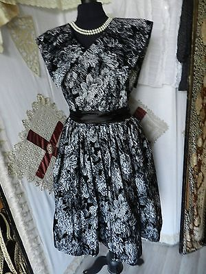 @superbe Robe T42 Style 1950 Made In France Facon Velours Motifs Floraux 4 Ph@
