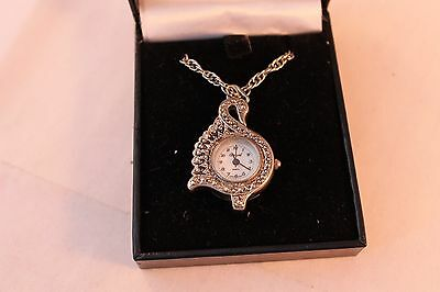 "Boxed Carvel Quartz Necklace Watch Ornate Swan On Chain 28"" Long Chain 14"" Hang"
