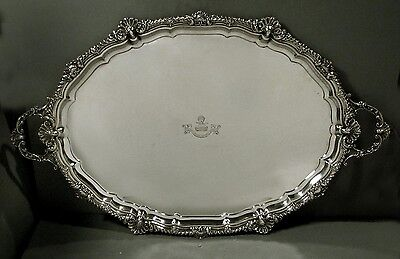 English Sterling Tea Tray    1908    VAUGHAN-LLOYD CREST            144 OUNCES