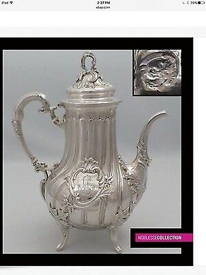 LUXURIOUS ANTIQUE 1880s FRENCH EMBOSSED ALL STERLING SILVER TEA POT Rococo style